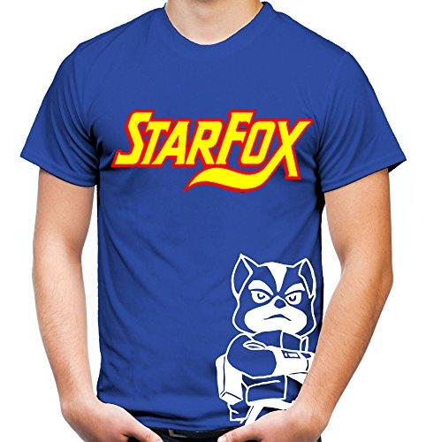 Herren T-Shirt | Retro Arcade Nintendo Geschenk | M1 (XXL, Blau) (Star Fox Kostüme)