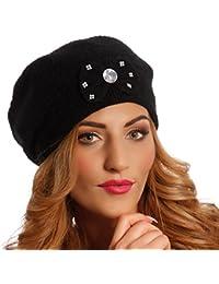 Young Fashion Damen Strickmütze Mütze Beanie Strass