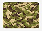Trsdshorts Camo Bath Mat, Eagle Silhouettes Flying Open Wings Falcon Hawk Armed Forces Theme, Plush Bathroom Decor Mat with Non Slip Backing, 23.6 x 15.7 inches, Army Green Dark Brown Cream