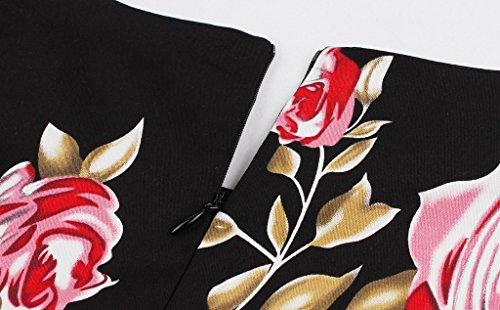 Surenow Robe Vintage de Bal Soirée Style Années 50 Audrey Pastel Rockabilly Femme Noir