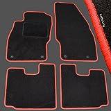 AME - Auto-Fußmatten Velours mit Roter Kettelung, eingearbeiteten Trittschutz inkl. Runde Befestigungen 3468BK