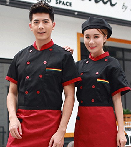 Dooxii Unisex Donna Uomo Estate Manica Corta Giacca da Chef Moda  Traspirante Cucina Mensa Hotel Uniformi Divise da Cuoco Nero L c652a922ba59