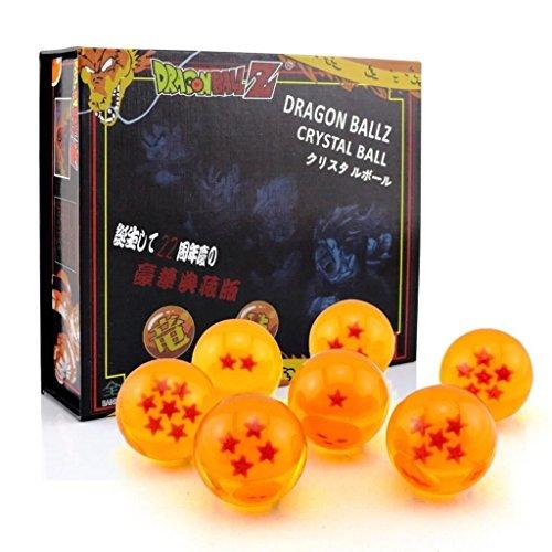 Outletdelocio. Conjunto de 7 bolas metacrilato estrellas de Dragon Ball Z. Diametro 43mm. En estuche de regalo