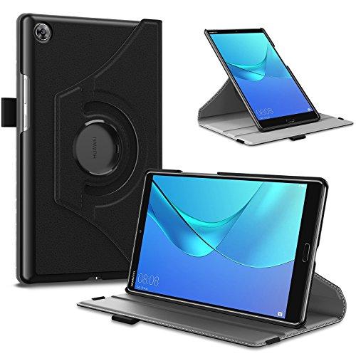Infiland Huawei MediaPad M5 8.4 Hülle Case, Ultra Dünn PU Leder Superleicht Rotating Ständer Schutzhülle Etui Tasche für Huawei MediaPad M5 8,4 Zoll Tablet-PC(mit Auto Schlaf/Wach Funktion),Schwarz