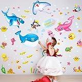 Cute Kids Wall Sticker Colorful Underwater World Room Decor