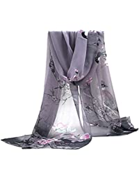 Sanwood® Ladies Chiffon Scrawl Flower Printed Wrap Scarf