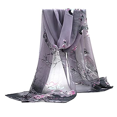 Sanwood Ladies Chiffon Scrawl Flower Printed Wrap Scarf (Grey)