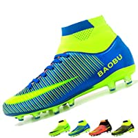 LANSEYAOJI Mens Football Boots High Top Spikes Soccer Shoes Boys Training Shoes Outdoor Football Shoes Sneakers Kids Junior Rugby Boots