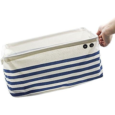 Basket archiviazione, ASAPS Grande Navy Blue strisce di stoffa Cube pieghevole dell'organizzatore di immagazzinaggio del (Basket Archiviazione)