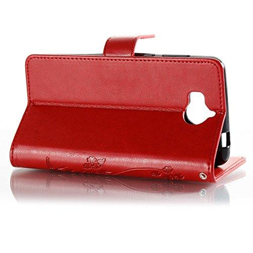 EKINHUI Case Cover Horizontale Folio Flip Stand Muster PU Leder Geldbörse Tasche Tasche mit geprägten Blumen & Lanyard & Card Slots für Huawei Y5 2017 ( Color : Red ) Red