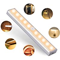 OUSFOT Motion Sensor Closet Light, 10 LED Cupboard Lights Wireless USB Rechargeable Battery with 2 Magnetic Strips Stick up Cabinet Wardrobe Stairs Kitchen Wall Warm White [Energy Class A+++]