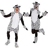 TecTake Kostüm Zebra für Sie und Ihn | Aus weichem Fellimitat | Ärmellos und vorne mit praktischem Reißverschluss | Inkl. Handschuhe, Beinstulpen und Ganzkörperstrumpfhose (M | Nr. 300890)