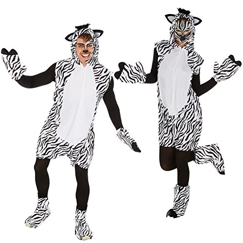 Kostüm Zebra für Sie und Ihn | Aus weichem Fellimitat | Ärmellos und vorne mit praktischem Reißverschluss | Inkl. Handschuhe, Beinstulpen und Ganzkörperstrumpfhose (M | Nr. (Tier Kostüme Wildes Ideen)