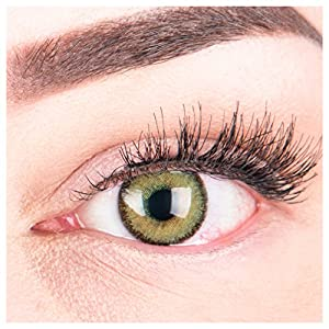 Glamlens Farbige Grüne Kontaktlinsen Mirel Green Stark Deckende Natürliche Silikon Comfort Linsen – 1 Paar (2 Stück) Mit oder Ohne Stärke