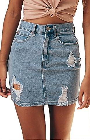Womens High Waist Distressed Ripped Short Denim Jean Skirt Package Hip Mini Skirts (S, LIGHT BLUE)
