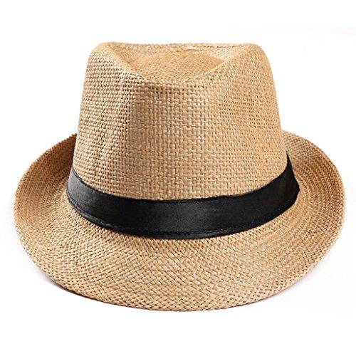 kingko® Erntehelfer Strohhut (Sonnenschutz) für Damen und Herren, Cooler und modischer Sonnenhut im Trilby Look für den Sommer am Strand oder im Urlaub (Khaki) -