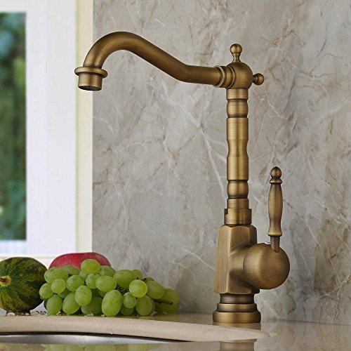 Hiendure Einlochmontage Einhebelmischer Küchenarmatur Aus Messing Keramik-Kartusche schwenkbarer Rohrauslauf Hoher Auslauf Wasserhahn