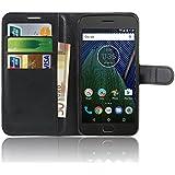 Motorola Moto G5 Plus Funda , Anzhao Funda de Cuero Piel Carcasa con Ranuras para Tarjetas para Motorola Moto X 2017 (Negro)