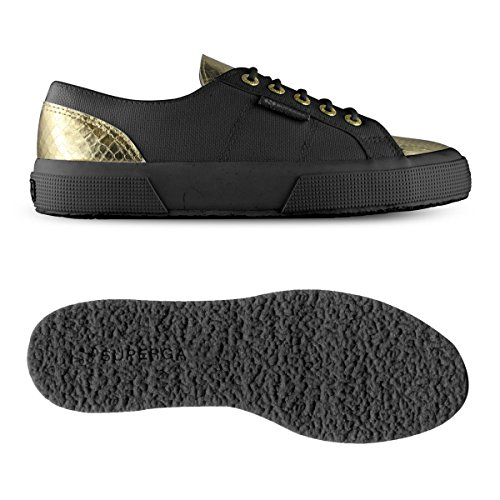 Superga 2750 Cotleasnakeu, Sneakers basses mixte adulte Black-Gold