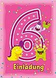 12 Einladungskarten zum 6. Kindergeburtstag rosa / Einladungen zum sechsten Geburtstag / bunte und lustige Karten zum Geburtstag für Mädchen