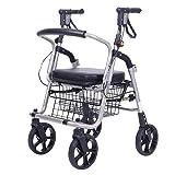 HYRL Carros de Compras de Edad Avanzada, Aluminio Plegable de la Ayuda de Movilidad/Walker/Cuatro Ruedas Plegables Silla de Ruedas Ligera