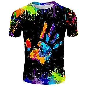 EUZeo Herren Bunt Handabdruck gedruckt Short Sleeve T-Shirts Casual Rundausschnitt Regenbogen-Graffiti Still Kurzärmelig Outdoor Männer Sport Casal Bekleidung