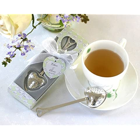 Tea Time Heart Tea Infuser in Tea-Time Gift Box - Baby Shower Gifts & Wedding Favors (Set of 12) by CutieBeauty