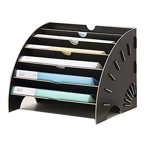 Deposito di scrivania cestino a Documento A4con 6scomparti scatola di blister combinabile Organizzatore per camicia di carta in forma di ventaglio raccoglitore DIY nero