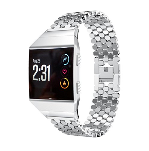 samLIKE Solid Stainless Steel Accessory Watch Strap Metal Bands For Fitbit Ionic (Silber)