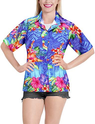 LA LEELA Frauen Knopf Blumendruck Strand Hemd unten Blau_A79 S - DE Größe :- 42-44 -