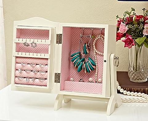 XYLUCKY Délicat sculpté en bois massif Dressing Box Bijoux Boîte de rangement boîte à bijoux Bande miroir / Blanc , white