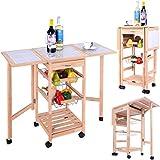 Chariot de cuisine bois Desserte de cuisine à roulettes Meuble de rangement étagères