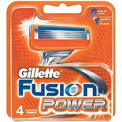 Gillette Fusion Power - Recambio de maquinilla de afeitar para hombre - 4 unidades