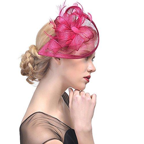 Sunday Damen Elegant Fascinator Hut Braut Hair Clip mit Feder Haarnadeln Cocktail Party Haarreif Accessoires (Hot Pink)