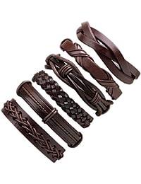 HooAMI Bracelet Cuir Homme Personnalisé Tressé Tibétain Multirang Charme Bijoux Meilleur Cadeau Pour Famille Amour Amis (6pcs)