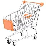 kimberleystore Creative Mini carrito de la compra carro de supermercado carrito con ruedas Asiento (naranja)