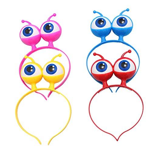STOBOK 4 stücke Halloween Stirnband Flash Augapfel Hoop Party Ball Kopfbedeckungen Haarspange mit Großen Augen LED Stirnband (Rot Blau Gelb Rosa)