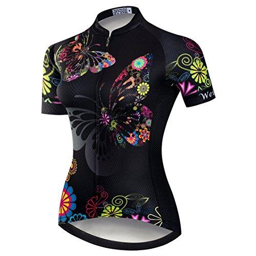 Kurzarm-damen-bike-trikot (Weimostar Radtrikot Frauen Mountain Bike Trikot Shirts Kurzarm Rennrad Kleidung MTB Tops Sommer Sommer Kleidung Schmetterling schwarz Größe XXL)