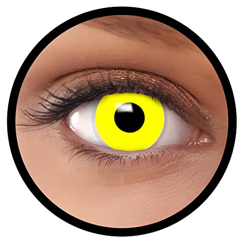 FXEYEZ® Farbige Kontaktlinsen gelb Gelb + Linsenbehälter, weich, ohne Stärke als 2er Pack - angenehm zu tragen und perfekt zu Halloween, Karneval, Fasching oder Fasnacht