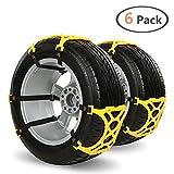 Chaînes à Neige IREGRO Universelles Chaine Voiture ,antidérapantes, faciles à installer et résistantes aux basses températures,Conviennent pour la plupart des véhicules, pour pneus de largeur 165mm-275mm (Lot de 6 – pour 2 roues)