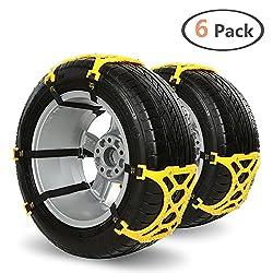Auto Schneeketten IREGRO Anti-Rutsch Ketten Universal 6 Stück Fit für die meisten Auto / SUV / LKW Einfach zu Installieren