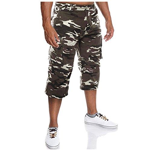 Herren Cargo Bermuda Shorts Kurzehose Sommer Camouflage Casual Capri Hosen 21363, Größe:M;Farbe:Weiß (Cargo-wolle Hosen)