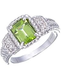 Sterling Silver Peridot Ring (1.10 CT)