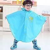 Highdas Baby-Kind-Regen-Poncho mit Kapuze Poncho wasserdicht Größe 80-100cm (S / Blau)