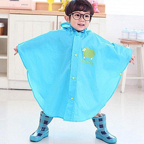 Botetrade Network technology Ltd Highdas Baby-Kind-Regen-Poncho mit Kapuze Poncho wasserdicht Größe 110-130cm (L / Blau)