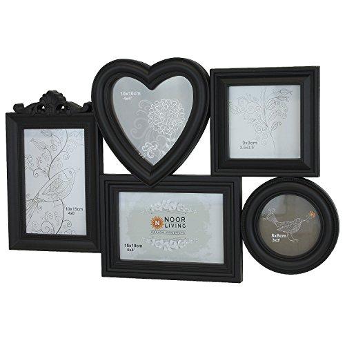 Schöner Foto-Rahmen für Ihre Foto-Collage. Für 5 Bilder in unterschiedlichen Größen. Schwarz. Besondere Wand-Dekoration, Bilderrahmen, Fotos, Galerie, Fotorahmen zum Aufhängen