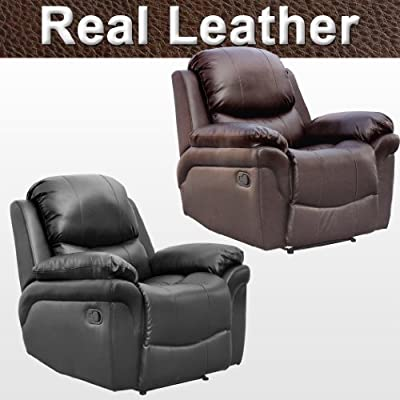 Madison Leather Recliner Armchair Sofa Home Lounge Chair Reclining Gaming from More4Homes