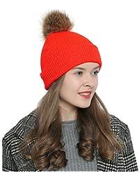 DonDon Mujer Gorro de invierno Gorro de punto caliente y suave con pompón  borla - con 9d3057aa0da