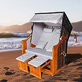 Strandkorb Polyrattan Kunststoffgeflecht XXL Strandstuhl UV-beständiges Luxus inkl. Kissen|Nackenkissen|Wasserdicht Strandkorbschutzhülle|Tische zum Aufklappen|ausziehbare Fußstützen