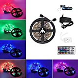 LED Strip Light, Vemico LED Strips Kit 3528 LED TV Color Changing Flexible RGB Light Strip with 44Key Remote Control 300LED 16.4ft